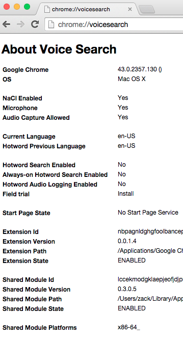 Screen shot of Google Voice Search diagnostic report, taken on Chrome 43 running on MacOS X. The most important lines of text are 'Microphone: Yes', 'Audio Capture Allowed: Yes', 'Hotword Search Enabled: No', and 'Extension State: ENABLED.